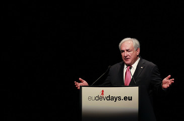 IMF Managing Director Strauss-Kahn delivers a speech during the opening ceremony of the European Development Days in Brussels