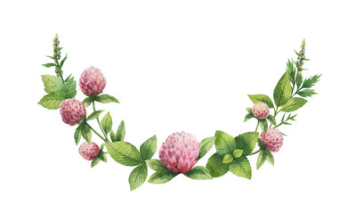 Watercolor hand painted wreath with Red clover.