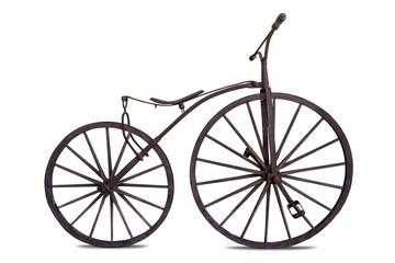 Wooden bicycle isolated on white