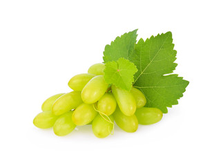 Sweet green grape with leaves isolated on white background.