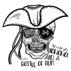 Vector illustration with a human skull and hat. Pirate Skull in a Hat. Gothic brutal skull. For print t-shirts or book coloring.