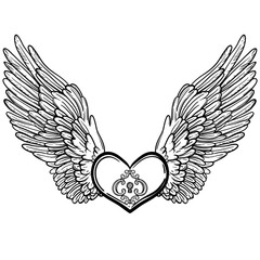 Line art illustration of angel wings and heart. Vintage print for St. Valentine s Day. Sketch for tattoo, hipster t-shirt design, vintage style posters. Coloring book for kids and adults.