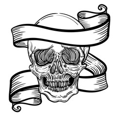 Vector illustration with a human skull and ribbon. Gothic brutal skull. For print t-shirts or book coloring.