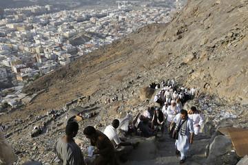 Muslim pilgrims climb Mount Al-Noor in the holy city of Mecca