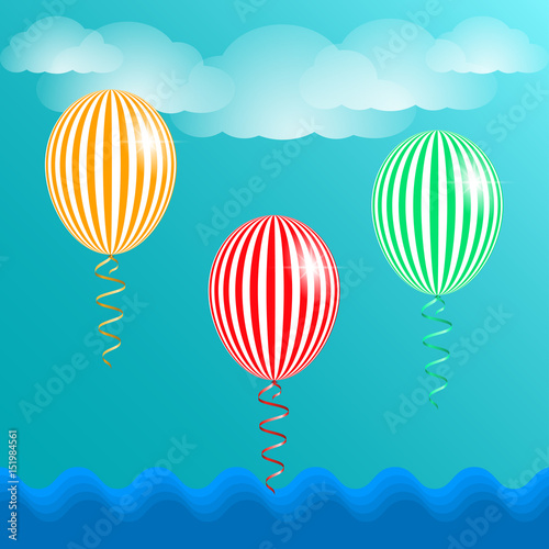 blue sky clouds and striped balloons