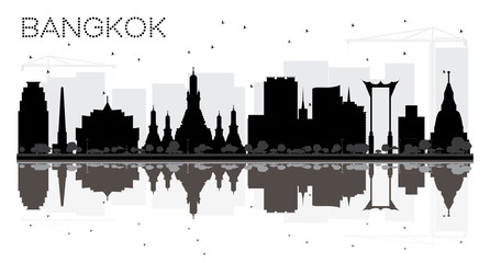 Bangkok City skyline black and white silhouette with reflections.