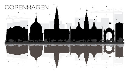 Copenhagen City skyline black and white silhouette with reflections.