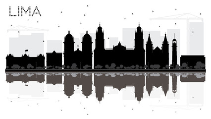 Lima City skyline black and white silhouette with reflections.