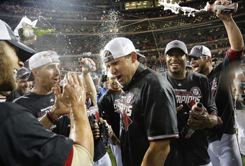 Nationals' Zimmerman celebrates National League East Division championship win with teammates in Washington