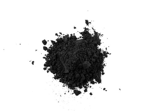 Activated charcoal capsule and power isolated on white