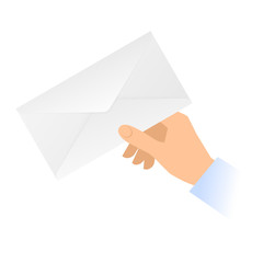 A human hand holds a paper envelope. Mail message, correspondence flat concept illustration. Vector material design element isolated on white background.