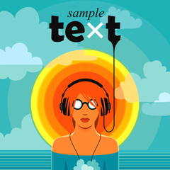 Hot music / Conceptual summer music vector. Man listening to the music in headphones, standing in water against cloudy sky background with sample text.