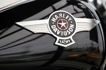 A Harley-Davidson motorcycle is seen at a dealership in Los Angeles