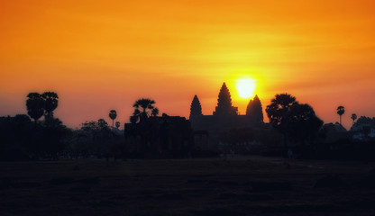 Stunning Sunrise at Angkor Wat - Siem Reap - Cambodia Biggest religious monument on the World