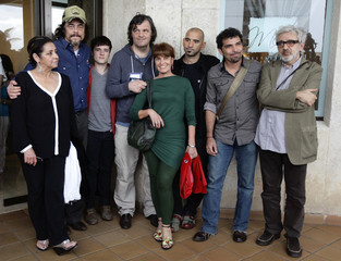 """Actors and directors pose for picture after a news conference in Havana presenting new movie """"7Days In Havana\"""