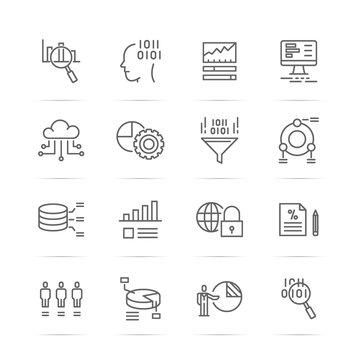 data analysis vector line icons