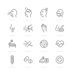 sickness and illness vector line icons