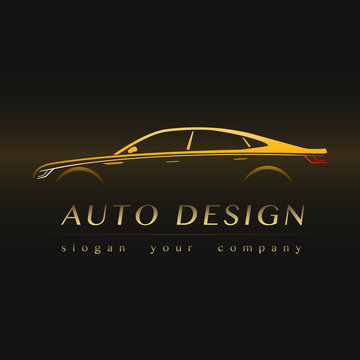 Auto Company Yellow Logo. Concept with Sports Car Silhouette.