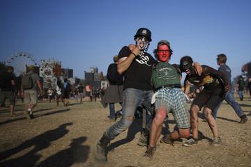Festival-goer pose during the Hellfest music Festival in Clisson