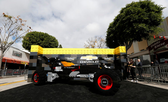 """A vehicle made of Lego pieces is pictured at the premiere of the movie """"The LEGO Batman Movie"""" in Los Angeles"""