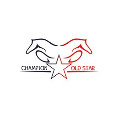 horse abstract champion logo