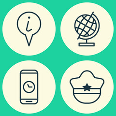 Travel Icons Set. Collection Of World Sphere, Pilot Hat, Info Pointer And Other Elements. Also Includes Symbols Such As Info, Time, Pointer.