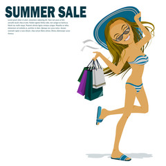 woman in bikini is carrying many shopping bag in her hand