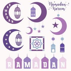 Ramadan Kareem festival flat elements on white background, vector