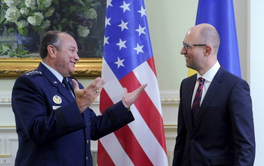 Ukraine's Prime Minister Yatsenyuk meets U.S. Air Force General Philip Breedlove in Kiev