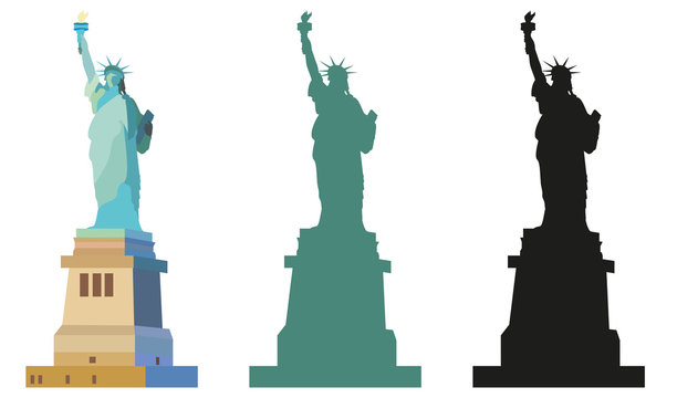 Statue of Liberty in color and black