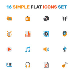 Music Flat Icons Set. Collection Of Ear Muffs, Controlling, Portfolio And Other Elements. Also Includes Symbols Such As Karaoke, Microphone, Disk.