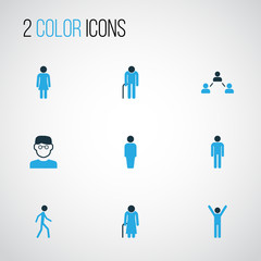 Human Colorful Icons Set. Collection Of Old, Client, Human And Other Elements. Also Includes Symbols Such As Oldster, Head, Social.