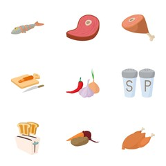 Kitchen and cooking icons set, cartoon style