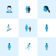 People Colorful Icons Set. Collection Of Stairs, Jogging, Worker And Other Elements. Also Includes Symbols Such As Head, Female, Climbing.