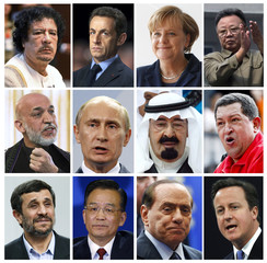 A combination photo shows world leaders mentioned in cables released by whistle-blowing website WikiLeaks