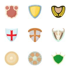 Military shieldd icons set, cartoon style