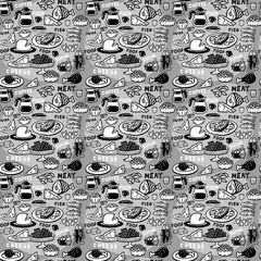 Monochrome seamless pattern assortment of food