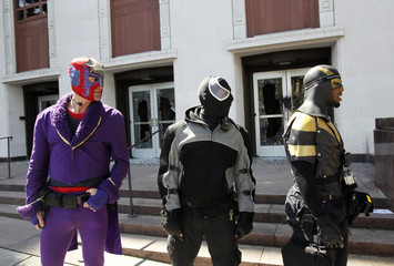 "Self proclaimed vigilante ""superheros"" stand guard at the the Federal Courthouse in downtown Seattle"