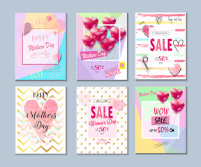 Happy Mother's day cards, posters, sale banners collection. Vector illustration. Love, Romance set
