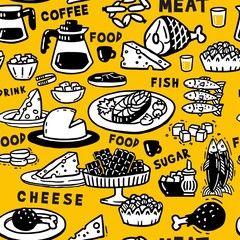 Yellow seamless pattern food