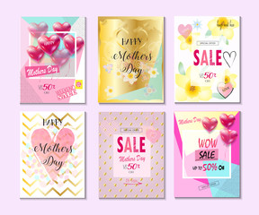 Happy Mother's day greeting cards, posters, sale banners set. Vector illustration. Futuristic style
