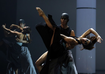 Dancers perform during a rehearsal of Antigone a dance choreographed by  Bozsik, in Budapest