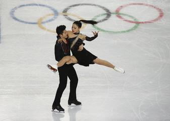 Maia Shibutani and Alex Shibutani during ice dance free dance program at Sochi 2014 Winter Olympics
