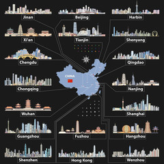 Fototapete - vector China map with largest chinese city skylines