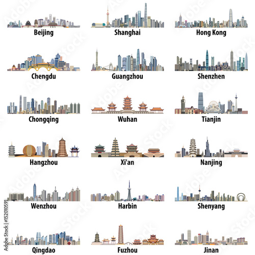 Fototapete chinese largest city skylines isolated on white background