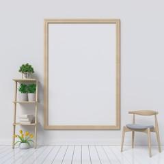mock up poster frame in interior background,3D rendering