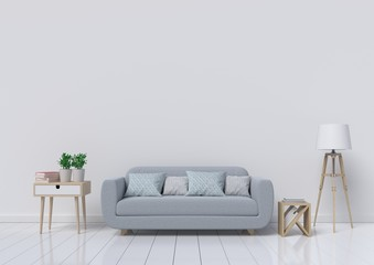 Empty living room with have white wall in the background,3d rendering