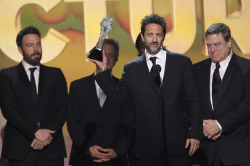 """Director Affleck, producer Heslov and cast member Goodman accept the award for """"Best Picture"""" for """"Argo"""" at the 2013 Critics' Choice Awards in Santa Monica"""