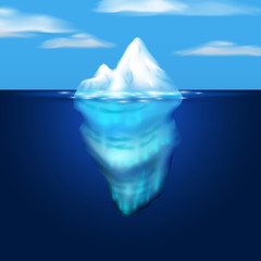 Iceberg illustration. Block of ice in the sea. Vector image.