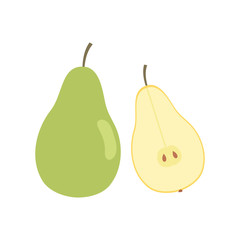 Pear and half pear icon. Flat design